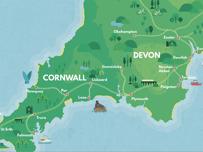 Devon and Cornwall map